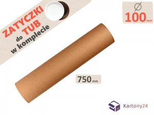 Cardboard postal tube 100mm x 750mm with end caps - 5pcs.