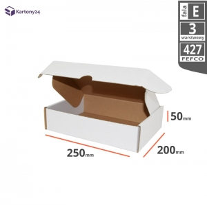 White postal cardboard box 250x200x50mm - 40 pcs.
