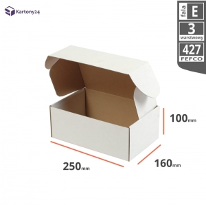 White postal cardboard box 250x160x100mm - 40 pcs.