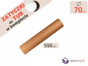 Cardboard postal tube  70mm x 550mm with end caps - 5pcs.