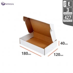 White postal cardboard box 180x120x40mm - 40 pcs.