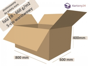 Cardboard box 800x600x400mm - 10 pcs. - double wall - external dim.  (1)