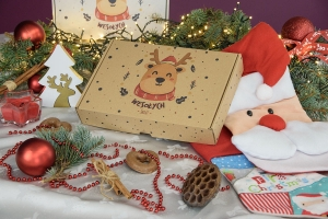 Christmas box 310x220x55 happy reindeer - 20 PCS