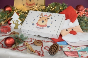 Christmas box white 310x220x55 happy reindeer - 20 PCS