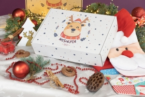 Christmas box white 350x250x90 happy reindeer - 20 PCS