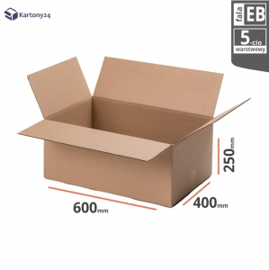 Cardboard box 600x400x250mm - 10 pcs. - double wall - external dim.