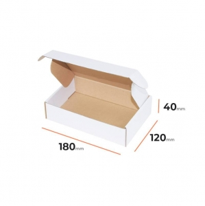 White postal cardboard box 180x120x40mm - 40 pcs