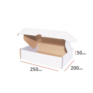 White postal cardboard box 250x200x50mm - 40 pcs