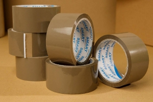 Adhesive tape 66yd - solvent - brown - 6pcs.