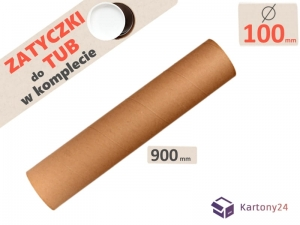 Cardboard postal tube 100mm x 900mm with end caps - 5pcs.