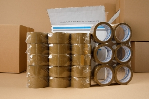 Adhesive tape 66yd - solvent - brown - 36pcs.