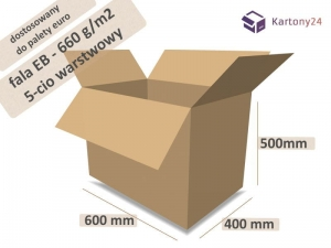 Cardboard box 600x400x500mm - 10 pcs. - double wall - external dim. (1)
