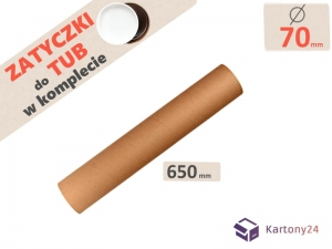Cardboard postal tube 70mm x 650mm with end caps - 5pcs.