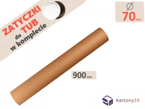Cardboard postal tube 70mm x 900mm with end caps - 5pcs.