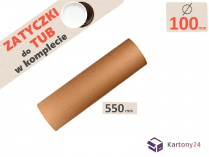 Cardboard postal tube 100mm x 550mm with end caps - 5pcs.