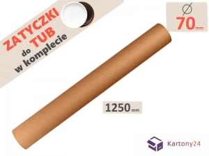 Cardboard postal tube 70mm x 1250mm with end caps - 5pcs.