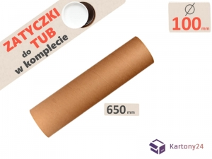 Cardboard postal tube 100mm x 650mm with end caps - 5pcs.