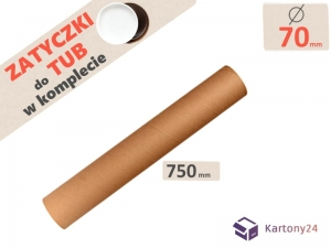 Cardboard postal tube 70mm x 750mm with end caps - 5pcs.