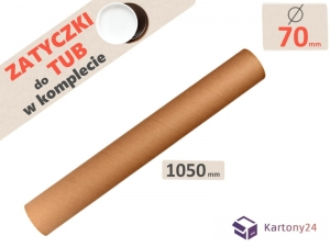Cardboard postal tube 70mm x 1050mm with end caps - 5pcs.